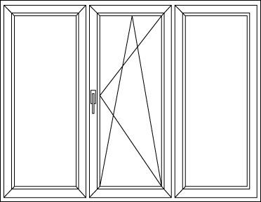 Háromszárnyú ablak két szélén fix elemek középen bukó-nyíló szárnyal. Családi házaknál ajánlott nagy üvegfelületeknél költséghatékony kivitel, sok fénnyel...