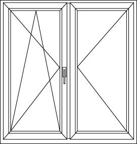 Kétszárnyú ablak, amelyik oldalt a kilincs található az az elsődleges szárny. Elsődleges szárny nyitása után nyitható a másodlagos szárny. Mindkét szárny nyitott állapotában nincs középen elválasztó fix elem.